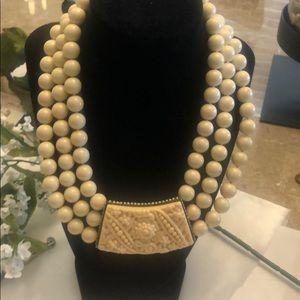 Heidi Daus Triple Strand Ivory Necklace